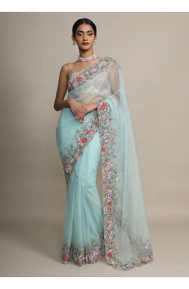 Fabzone Mint Saree In Organza With Resham Embroidered Floral Design On The Border