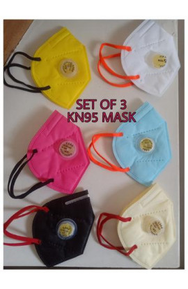Kn95 Standard Face Mask,Anti Pollution With Activated Carbon And Breathing Valve(Pack Of 3, Random Colour ,Free Size)