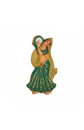 Village Lady Wall Hanging With Tambourine- Green
