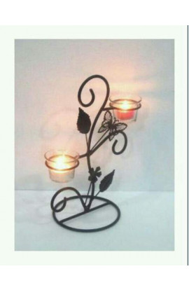 Floral 2 Candle Holder, T Light Table Top Metal Stand With 2 Glass Candle Holder