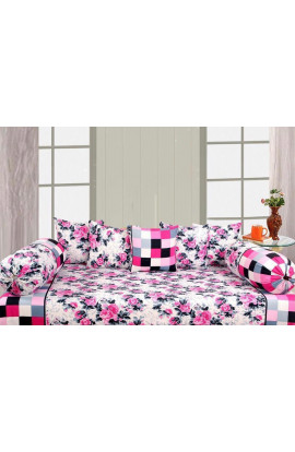 Stylish Pink Color Flora Print Pure Cotton Double Bedsheets(90X100) With 2 Pillow Covers