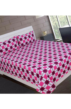 Stylish Pink Color Small Check Print Pure Cotton Double Bedsheets(90X100) With 2 Pillow Covers
