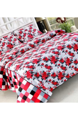 Stylish Red Color Flora Print Pure Cotton Double Bedsheets( 90 X100) With 2 Pillow Covers