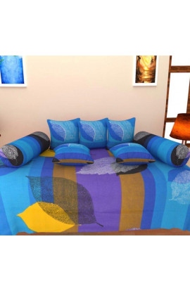 Stylish Leaf Print Pure Cotton Double Bedsheets(90X100) With 2 Pillow Covers