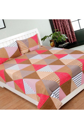 Stylish Multicolor Geometric Print Pure Cotton Double Bedsheets(90X100) With 2 Pillow Covers
