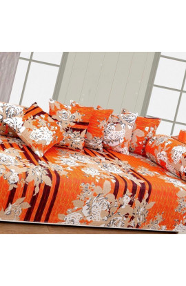 Stylish Orange Color Flora Print Pure Cotton Double Bedsheets(90X100) With 2 Pillow Covers
