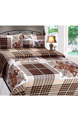 Stylish Brown Color Small Check & Flora Print Pure Cotton Double Bedsheets(90X100) With 2 Pillow Covers