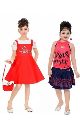 Girls A-Line Designed Fiera Fashion Red & Pink Dress (Combo Pack)