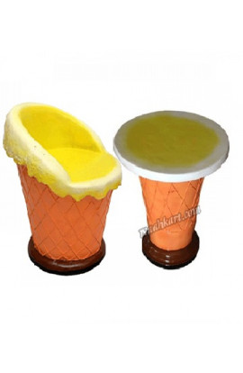 Ice Cream Cone Shape -1Table And 1Chair