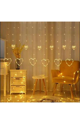 Warm White Heart Light Curtain, String Lights With 12 Hanging Hearts, 8 Flashing Modes, Decoration Lighting.