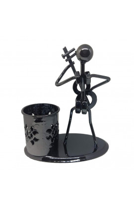Iron Pen Stand And Musician Playing Table Top Showpiece