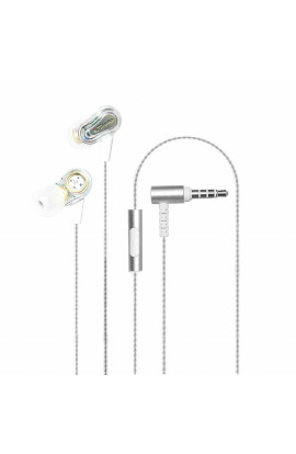 Portronics POR-886 Conch 208 Powerful Dual Driver Earphones with Mic (White)