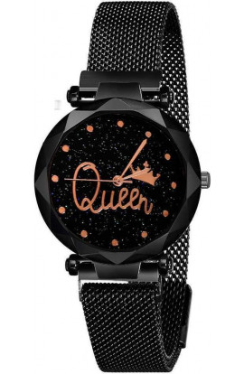 Casual Desinger Queen Magnet Watch For Woman (Black)